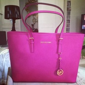 bag,michael kors,fushia,neon pink,brand,luxury,handbag,shoulder bag,branded bag,chanle style bag,purse
