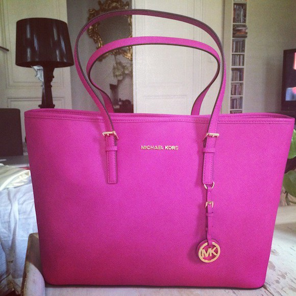bag handbag purse shoulder bag michael kors mk fushia neon pink brand luxury branded bag chanle style bag