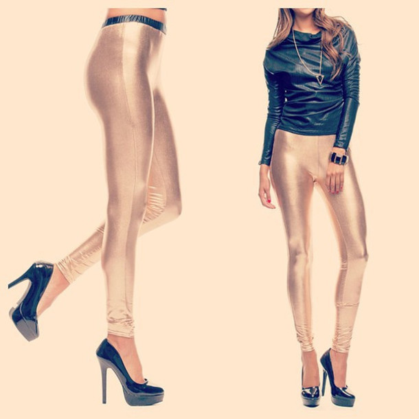 pants leggings gold tights bottoms makeup table dress to kill shiny metallic vanity row