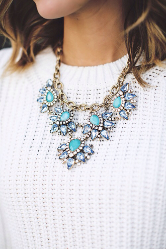 jewels necklace blue turquoise white