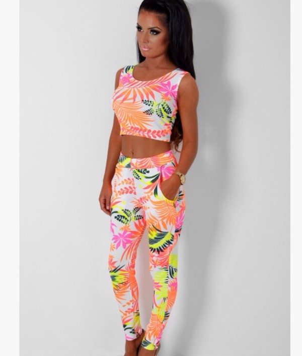 top tropical two-piece leggings
