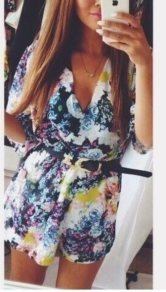 romper floral multicolor shorts top black blue pink summer holidays chiffon fashion style