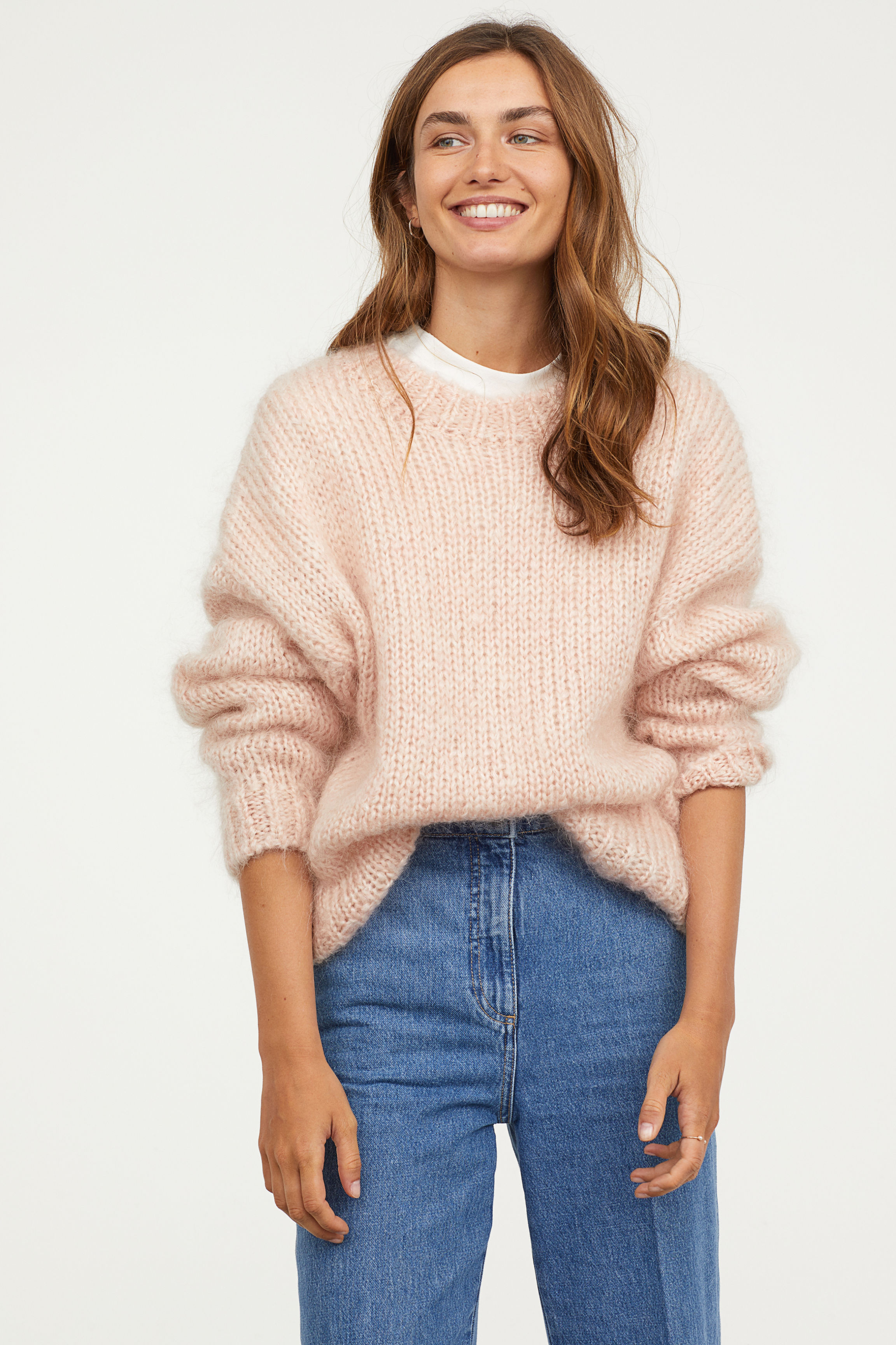Knitted mohair-blend jumper - Powder pink - Ladies | H&M GB