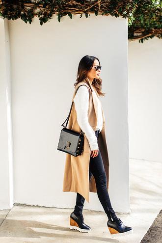 coat vest shoes pants sweater blogger jamie chung purse camel camel coat bag jimmy choo