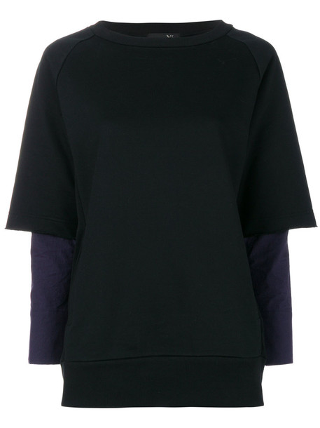 Y's - layered sweatshirt - women - Cotton - 2, Black, Cotton