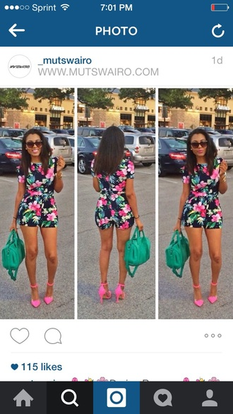 dress floral dress floral romper romper jumoer bottoms jumpsuit neon onepiece one piece fashion girly dress blogger love followforfollow style stylish