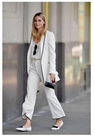 pants top jacket suit blazer olivia palermo flats ballet flats blogger streetstyle white