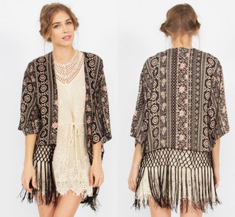 top kimono blouse summer spring hippie 2015 beach native american black pink lace fringe country chic selena gomez miley cyrus womens juniors