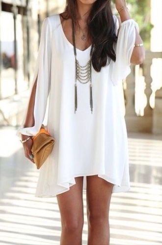 dress white boho bohemian loose arm slits cardigan jewels