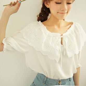 top cute white summer fashion girly style casual asian ruffle teenagers