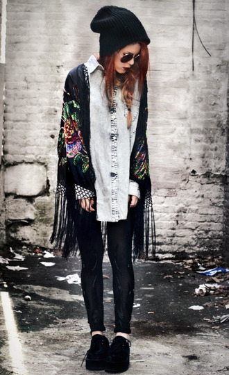 cardigan idk hipster hippie beautiful grey vans beanie kimono black floral blogger grunge shoes