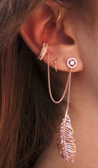 jewels earrings ear cuff ear piercings cuff golden earrings pink earrings feathers feather earrings