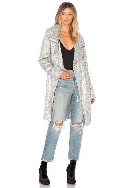 jacket sequin jacket metallic silver