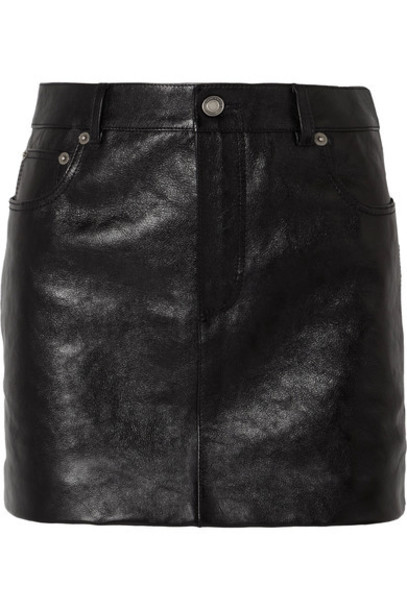 Saint Laurent skirt mini skirt mini leather black