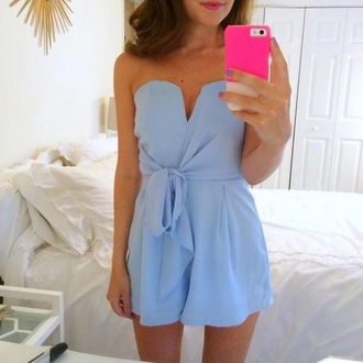romper blue bows bow strapless