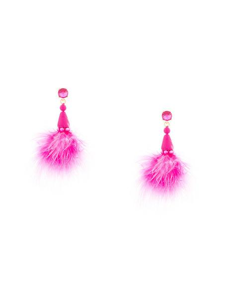 oscar de la renta feathers women earrings feather earrings purple pink jewels