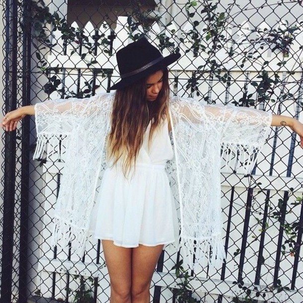 cardigan dress white hat brunette chiffon lace dress lace fringes see through white dress short dress girly angel tan blouse