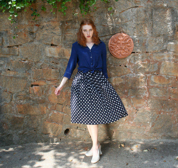 Polka dots and moonbeams vintage skirt by sarahssuitcase on etsy