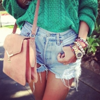 sweater shorts bag green sweater green wool warm cable knit