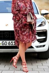shoes,tumblr,sandals,sandal heels,high heel sandals,red sandals,studded shoes,studs,studded,dress,floral,floral dress,midi dress,long sleeves,long sleeve dress