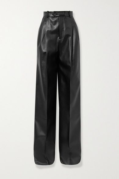 Peter Do - Pleated Faux Leather Straight-leg Pants - Black - Pleated Faux Leather Straight-leg Pants