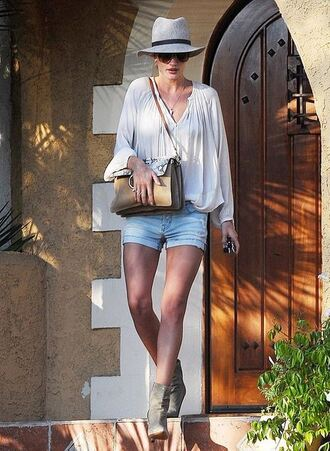shorts summer outfits rosie huntington-whiteley ankle boots blouse hat shoes