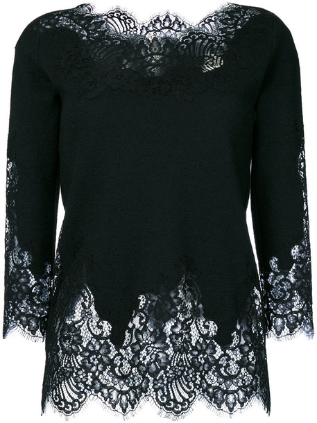 Ermanno Scervino top embroidered women lace cotton black silk wool