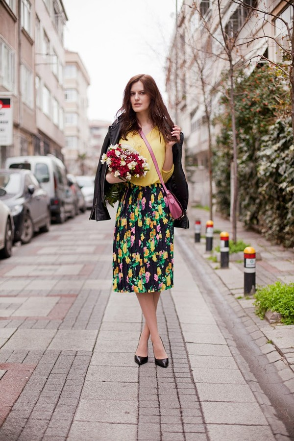 the bow-tie skirt blouse jacket bag shoes
