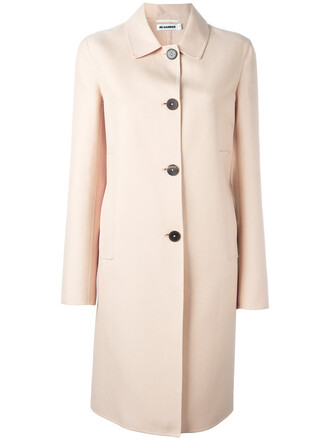coat women midi nude cotton silk