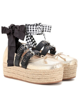 platform ballerinas leather gold shoes
