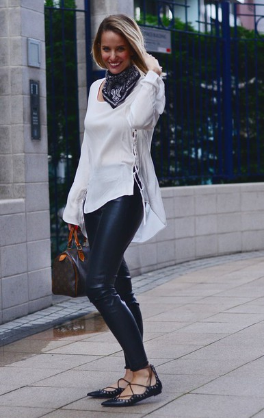 the sense blogger leather pants white blouse strappy flats