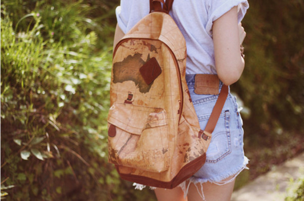 56a2e4356d bag menswear guys girl women backpack map adventure brown world unisex  accessories leather backpack vintage retro
