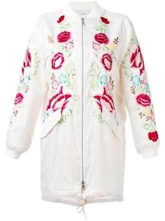 shirt fashion clothes farfetch floral zip up coat