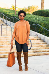 pinksole,blogger,jewels,sweater,jeans,shoes,bag,winter outfits,tote bag,boots,brown boots