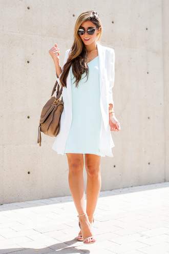 the darling detail - austin fashion blog blogger sunglasses jewels bag turquoise light blue white jacket brown bag mini dress sandals nude sandals nude heels
