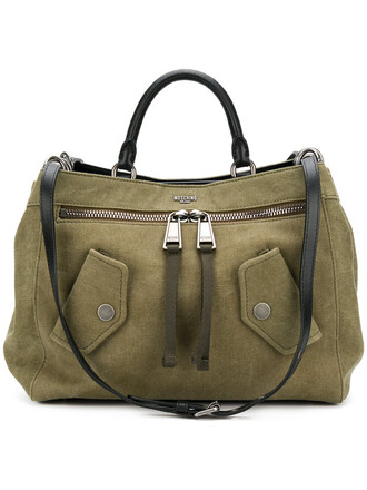 women bag tote bag leather cotton green
