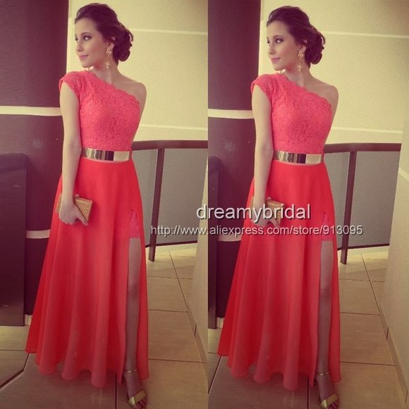 dress chiffon chiffon dress maxi dresses long evening dresses coral dress gold belt one shoulder prom dress one shoulder dress prom dress slit dress formal party dresses sexy party dresses 2014 prom dresses lace dress