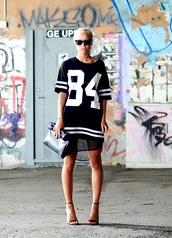 dress,jersey,jersey dress,black,white,number tee,shirt,shoes,black high heels,barely there sandals,t-shirt,tank top,black dress,heels,bag,tulle dress,blouse