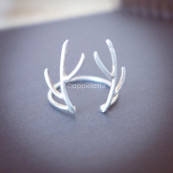 Anello in argento 925 anello cervo, anello di addio al celibato, anello di corno, anello di renne, anello d'argento antler di corna