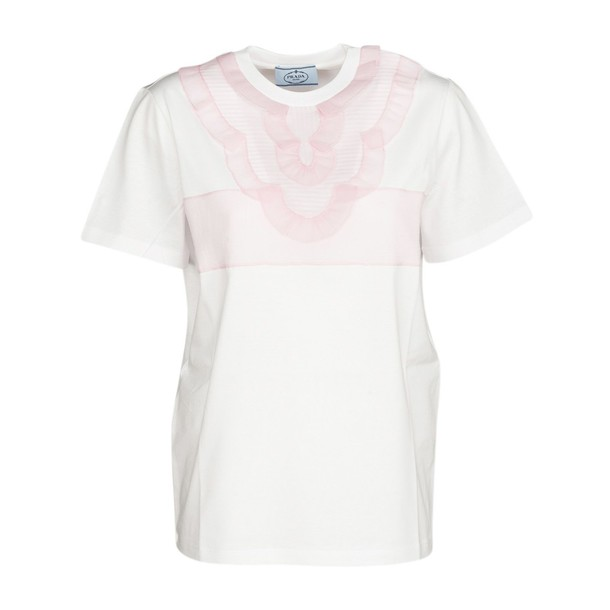 Prada t-shirt shirt t-shirt embroidered white top