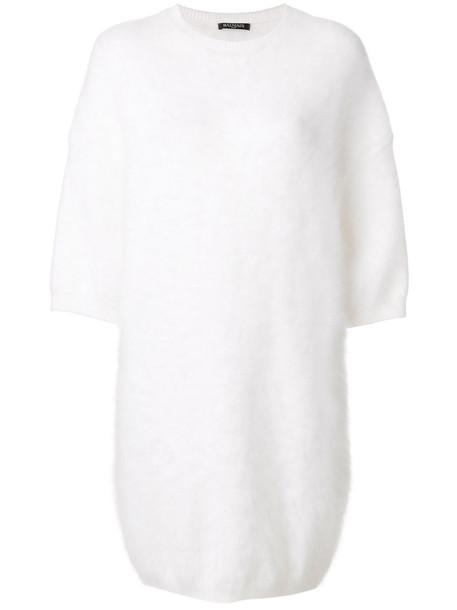 Balmain dress mini dress knitted mini dress mini women spandex white