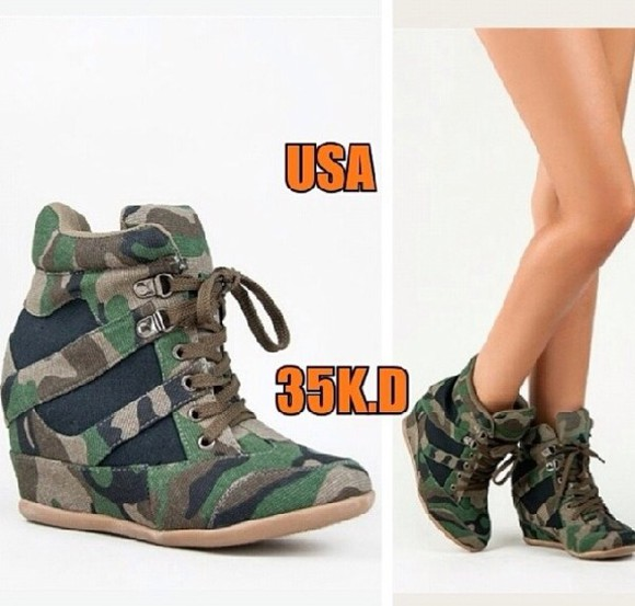 camouflage shoes wedge army styled wedge