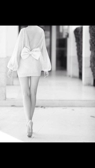 bows Bow Back Dress long sleeve dress white dress classy Open back dress