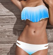 swimwear,bikini,blue,white,bikin set