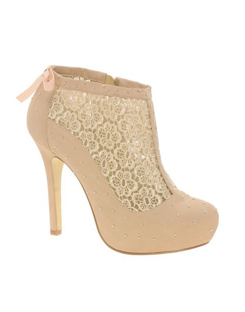 Shoes: lace up ankle boots, nude high heels, lace, heels, ankle ...