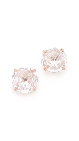 earrings stud earrings bright rose gold rose clear gold jewels