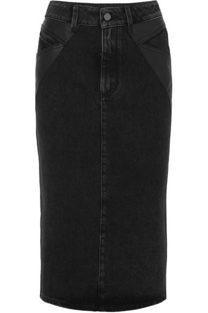 Givenchy - Leather-paneled Denim Midi Skirt - Black