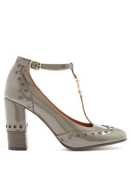 Chloe heel pumps leather grey shoes