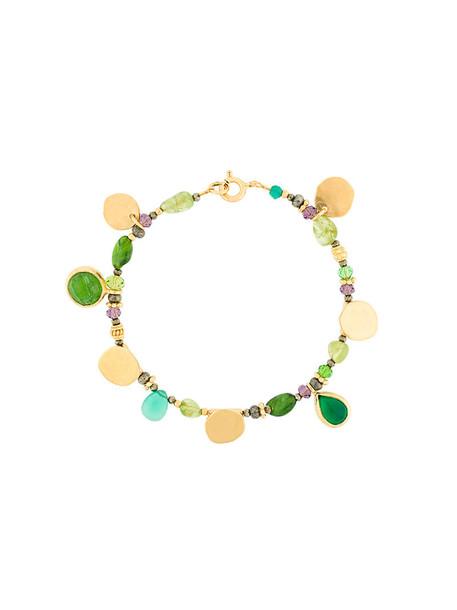 women charm bracelet gold silver green jewels