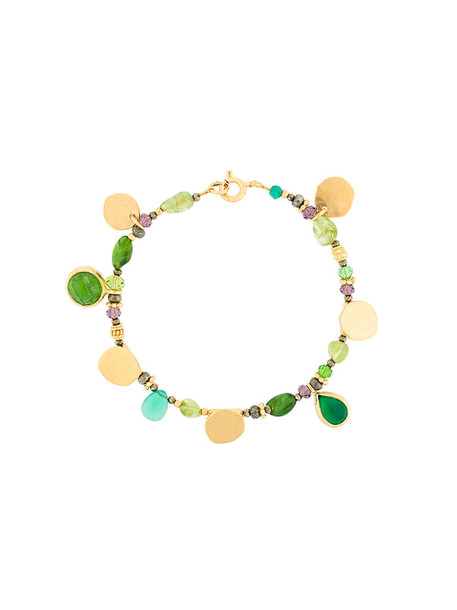 Katerina Makriyianni women charm bracelet gold silver green jewels